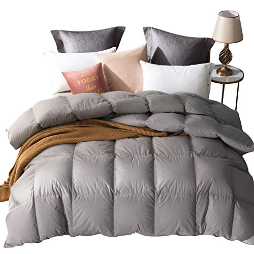 UMI. Essentials White Goose Feather and Down Duvet with 100% Cotton Down-Proof Fabric (13.5 Tog, Single,Grey)