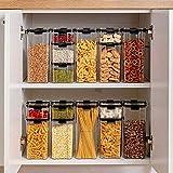 Taoke 700/1300 / 1800ml Contenedor de alimentos Cocina Plástico Nevera Caja de fideos Tanque de almacenamiento multigrano Cajas selladas transparentes 1800ml 8bayfa (Color: 1800ml)