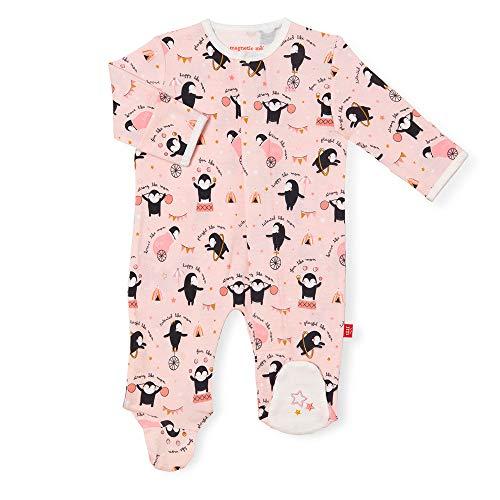 Magnetic Me Footie Pajamas 100% Organic Cotton Baby Sleepwear Quick Magnetic Fastener Sleeper Just Like Mom 0-3 Months