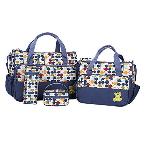 Ikaif 5 Piezas Bolso De Mano Multifuncional para Pañales De Bebé, Bolsa De Poliéster para Maternidad De Hospital De Mensajero (Blue)