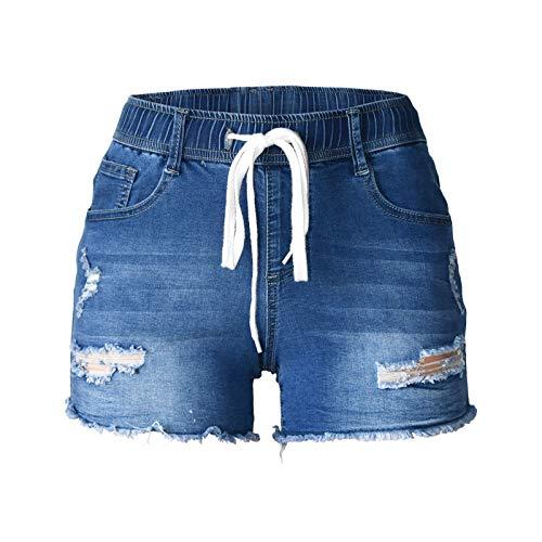 Atditama Women's Elastic Drawstring Waist Skinny Stretch Slim Mid-Waist 3' Inseam Ripped Distressed Ultra Short Jeans Blue M - US 6-8