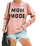 Mom Mode Casual Sweatshirts for Women Letter Print Long Sleeve Lightweight Pullover Tops Pink
