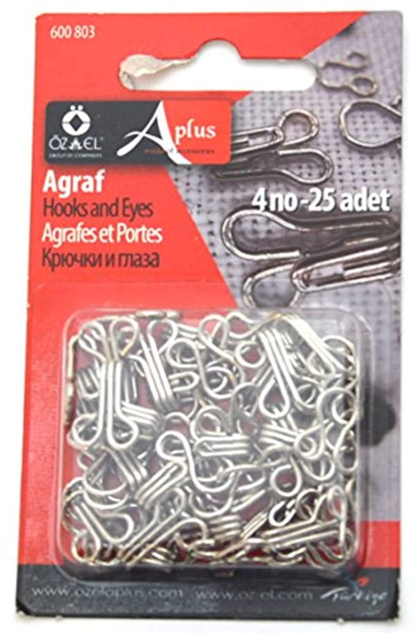 Ozelaplus 25 Pairs of Hook and Eye Fasteners-Silver