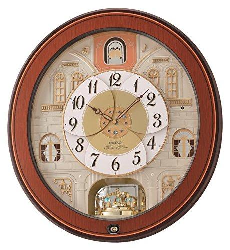 Seiko QXM368B Melodie in beweging wandklok met Piano Finish houten kast, bruin, 53.5 x 49.3 x 15 cm