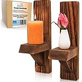 LIDERTAL Juego de 2 portavelas de madera para la pared, decoración vintage, también...