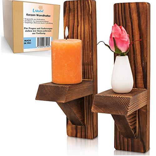 LIDERTAL Kerzenhalter 2'er Set - Teelichthalter als Vintage Deko - Wandkerzenhalter aus Holz - Kerzenhalter für die Wand - Kerzen Deko - Kerzenständer in Vintage - auch für Pflanzen und Blumentopf