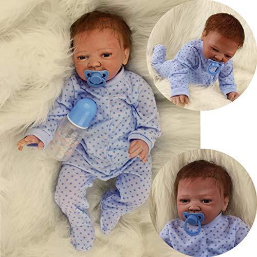 ZIYIUI 20 Zoll 50 cm Reborn Babypuppe Neugeborenes Reborn Silikon Weich und realistisch Reborn Baby Boy Open Eyes Puppenspielzeug
