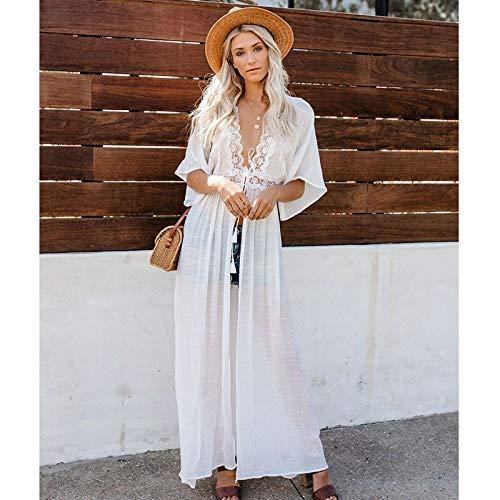 Bikini 2021 Crochet blanco vestido de playa cubierta de la túnica larga Bikinis cubierta de natación traje de baño traje de baño (color: LXF8416W1, talla: talla única)