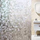 Shackcom Vinilo Película Cristal Ventana-90 x 400cm-Privacidad Pegatina sin Adhesivo - Decorativas para Electrostatica Translucido Anti UV-para hogar,Cocina,baño- Patrón de Diamante polygonal-J014