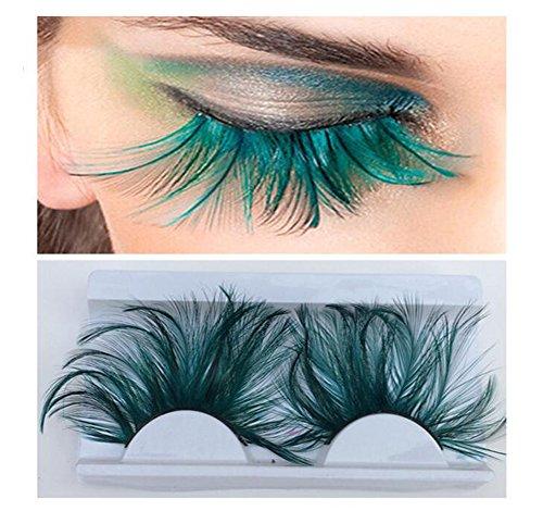 1 Paire Vert Exagéré Longue Plume Flake Cils Faux Cils Extension pour Fête Spectacle Mascarade Cosplay Fantaisie Boule Halloween