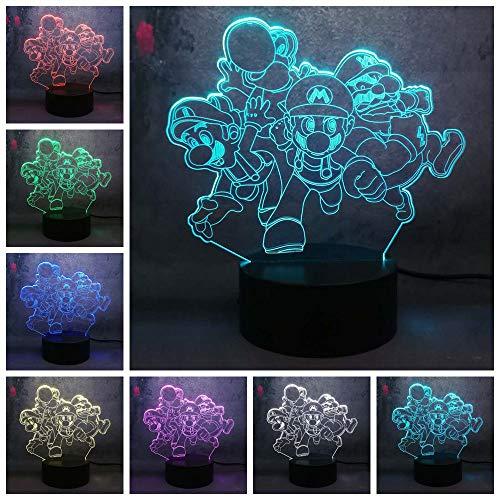3D Tischlampe 7 Farben Nachtlicht Hauptdekoration Cartoon niedlichen Spiel laufen Aktion Puppe Licht bunten Umkleideraum Mode Tischlampe Musik Tischlampe