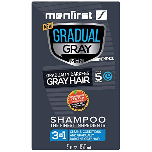 MENFIRST Gradual Gray 3-in-1 Grey Hair Reducing Shampoo and Conditioner for Men - Scalp Wash that Cleans, Darkens, and Gradually Reduces Grey and White Hair Color for Natural Looking Results