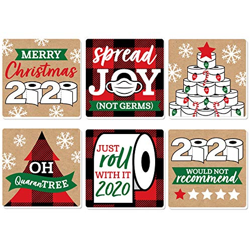 Big Dot of Happiness 2020 Quarantine Christmas - Funny Holiday Party Decorations - Drink Coasters - Set of 6