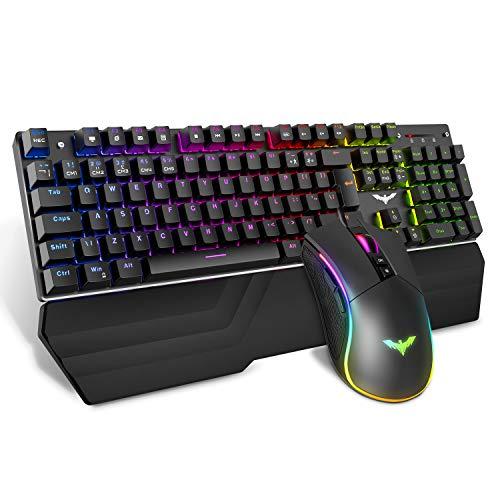 HAVIT メカニカルキーボード 青軸 ユニバーサル版 ゲーミングキーボード マウス ブルースイッチ LED バックライト 全104キーロールオーバー 有線 キーボード RGB USB有線キーボード PC用 ゲームキーボードとマウスセット 防衝突 HV-KB389(黒い)