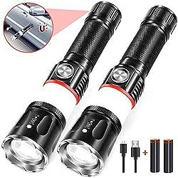LED Taschenlampe, Wiederaufladbare COB Magnet (einschließlich Batterie) USB Taschenlampe (2 Pack)