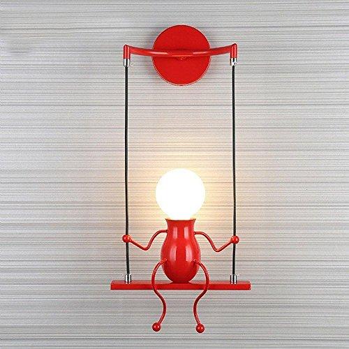 Modern Klassisch Creative Karikatur Design Deluxe LED Schwingen Wandleuchte Edison Wandlampe Innen minimalistische Metall Anhänger Einstellbar Wandbeleuchtung 1*E27 max. 40 Watt (Rot)