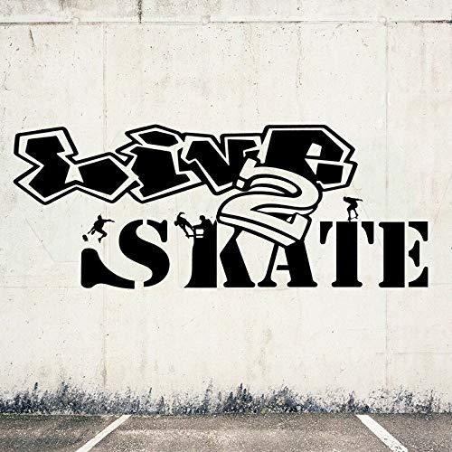 yaofale Live 2 Skate Skateboard Teenager Graffiti Kunstwand Vinyl Wandaufkleber für Schlafzimmer Jungen Hobby Aufkleber Wohnkultur Aufkleber 80x32cm