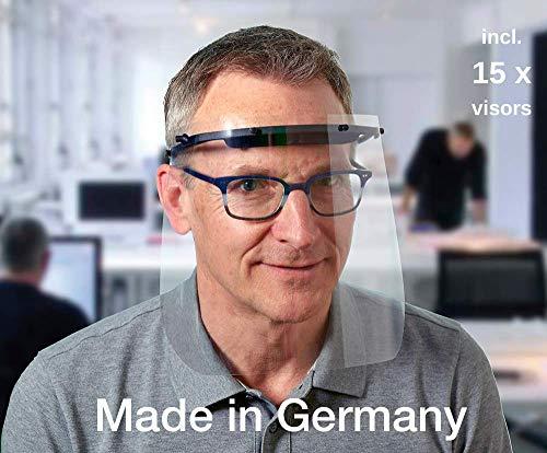 Visiera protettiva, protezione occhi, anti droplet, dispositivo di protezione individuale, face shield, INFEKT-PROTECT SHIELD di SCHWEIZER incl. 15 visori trasparenti in plastica, Made in Germany
