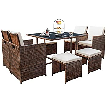 Devoko 9 Pieces Patio Dining Sets Outdoor Space Saving Rattan Chairs with Glass Table Patio Furniture Sets Cushioned Seating and Back Sectional Conversation Set  Beige