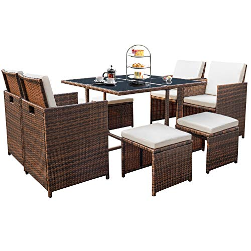 Devoko 9 Pieces Patio Dining Sets Outdoor Space Saving Rattan Chairs with Glass Table Patio...