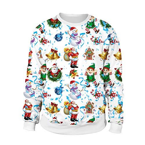 JXJ Neutraler Weihnachts-Pullover-3D-Weihnachts-Digital Druck Weihnachts Muster Pullover Personalisierten Pullover Lose Lange Ärmel Sweatshirt M-XXL,XL