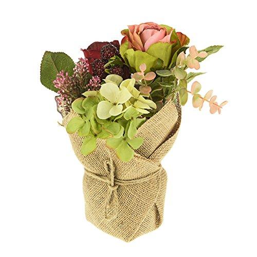 Arrangement de fleurs artificielles en pot en toile de jute Style Rouge et Rose poudré Rose Crème Hortensia Baies d'automne Bramble Thème 20 cm