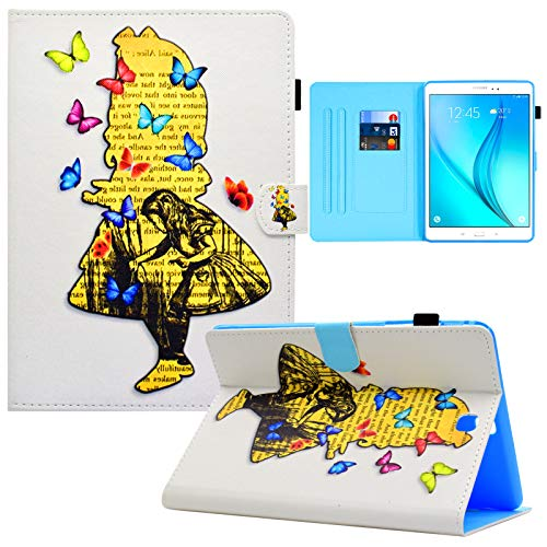 Galaxy Tab A 9.7 inch T550 Case, RASUNE Card Slot Case with Auto Sleep/Wake Feature Multiple Viewing PU Leather Case for Samsung Galaxy Tab A 9.7 Inch 2015 Release SM-T550 /SM-P550 -Butterfly Girl