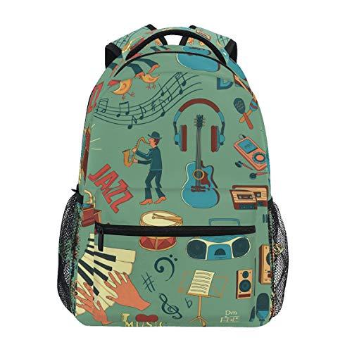 FELIZM Rucksack mit Musiknoten für Gitarren und Saxophon, für Jungen und Mädchen, Schultasche, lässig, Reisen, Tagesrucksack, Büchertasche, Wandern, Camping, Schultertasche
