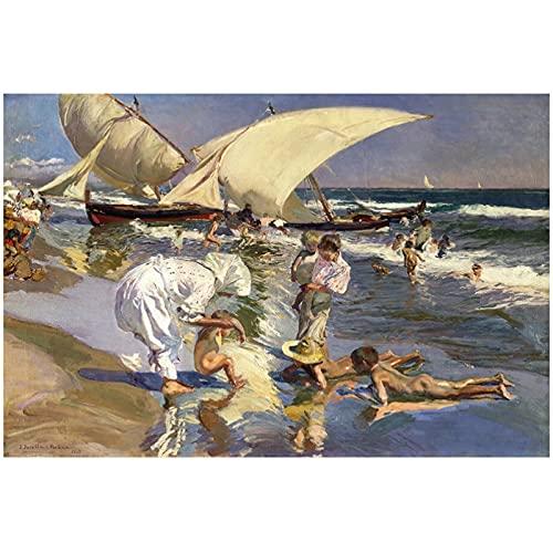 Playa de Valencia por la luz de la mañana Pintura Art Print Poster Arte de la pared Pintura en lienzo Obra de arte -60x80cm Sin marco