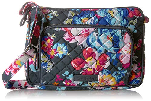 Vera Bradley Signature Cotton Little Hipster Crossbody Purse with RFID Protection, Pretty Posies
