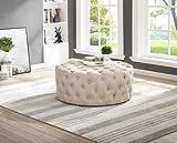 Best Master Furniture Sherlyn Tufted Round Ottoman/Footstool, Beige