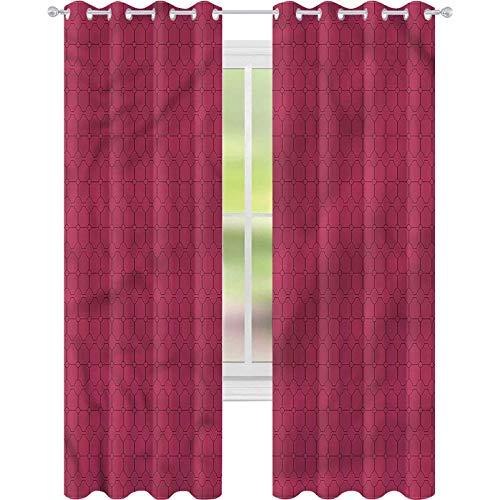 jinguizi Cortinas opacas con aislamiento térmico, color rosa, líneas finas, ovaladas, 52 x 84, cortinas de ventana para dormitorio