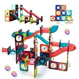 JUMAGA Magnetic Tiles Marble Run for Kids, 3D Pipes Magnets Building...