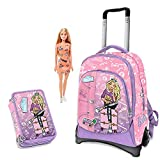 Schoolpack Zaino Trolley Compatibile con Barbie + Astuccio 3 zip completo di cancelleria - scuola 2019-20