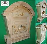HBK-RD-NATUR Briefkasten, Holzbriefkasten groß hell natur unbehandelt für Gartenhaus Holzhaus und Eingang Gartendeko mit Holzdach Dekoration Briefkästen Postkasten Runddach