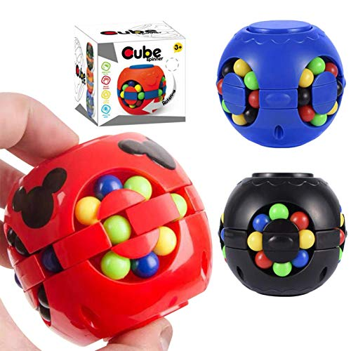 Creative Magic Cube Speed Cube Rubik's Little Magic Beans Gyroscope Puzzle Cube Fingertip Gyroscope Toy Intellectual Game for Kids and Adult Relieve Stress Anxiety