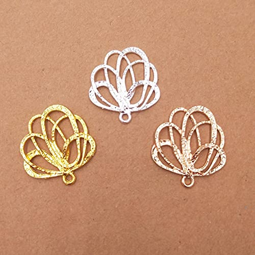 20 unids 24x26mm chapado en oro nuevas flores filigrana conectores encantos material DIY joyería hallazgos