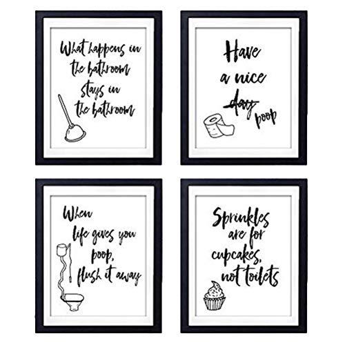 Vosarea 4PCS / Set Pegatinas de pared en blanco y negro Cita