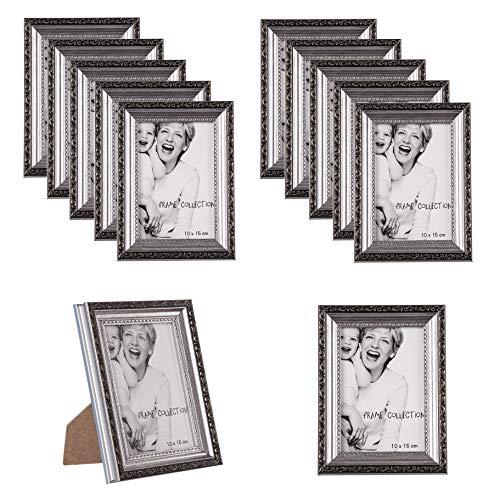 12x Retro-Bilderrahmen in Silber-Farben 19x14 cm - Antik-Optik im Vintage-Stil - Innenmaße ca. 10x15 cm Fotorahmen für Bilder, Fotos & Postkarten