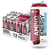 Optimum Nutrition Amino Energy + Electrolytes Sparkling Hydration Drink - Pre Workout, BCAA, Keto Friendly, Energy Powder - Juicy Cherry, 12 Count from Glanbia Performance Nutrition