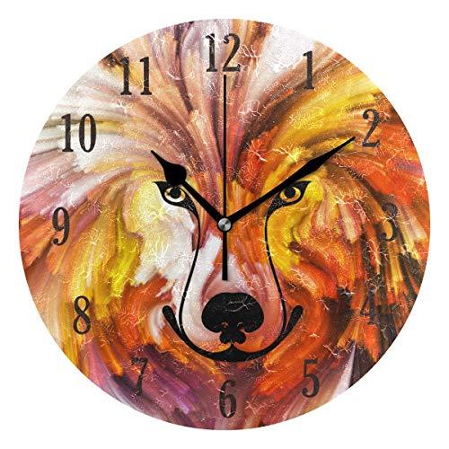 Reloj de Pared Redondo,25cm Decorativo de la Pared Relojes ,Silenciosos de Cuarzo Que Funcionan con Pilas Reloj Colgante (Pintura para Perros)