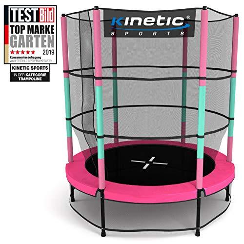Kinetic Sports Trampolin Kinder Indoortrampolin Jumper 140 cm Randabdeckung Stangen gepolstert, Gummiseil-Federung Sicherheitsnetz Pink