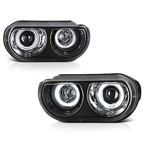 For 2008-2014 Dodge Challenger D2S Xenon HID Model Black Dual CCFL Halo Ring Projector Headlights Headlamps Assembly Replacement Pair, Driver & Passenger Side