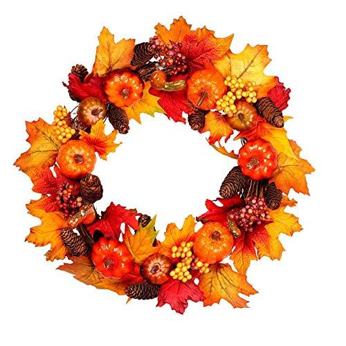 Welwoon Halloween-Türkranz, Dekoration, 40 cm, künstliche Ahornblätter, Herbstkranz, Ahornblätter, Tannenzapfen, Kürbisse und bunte Beeren