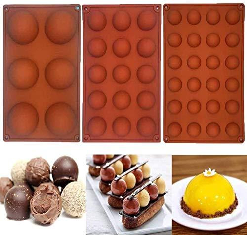 GSHWJS Bakeware 3 Sets Molde de Silicona para decoración de Pastel Jelly Pudding Candy Chocolate 24/15/6 Agujeros Semicírculo Molde de Silicona