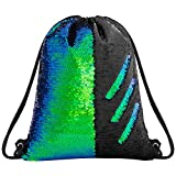 Sequin Drawstring Backpack Gym Dance Bags Mermaid Magic Reversible Glitter Bag Unicorn Gift for Girls Daughter Boy Flip Sequin Bag Birthday Gift for Kids Women