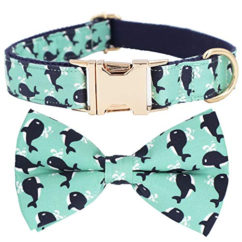 Cute Whale Dog Collar, Dog Bow Collar for Puppies(L)