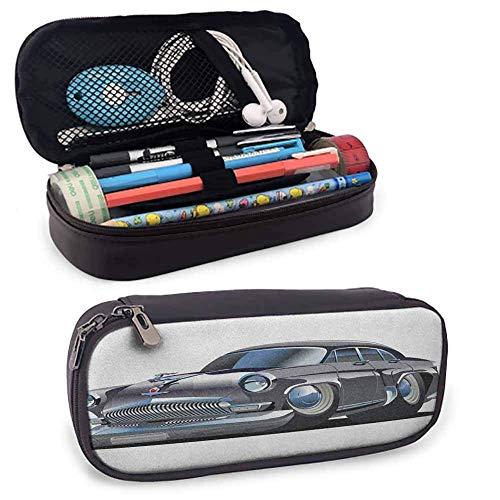 Autos Studenten Schreibwaren Tasche Retro inspiriertes Autodesign mit asymmetrischen Reifen Schnelles Auto Beschleunigen Cooles Logo Reißverschlusstasche für Kugelschreiber, Bleistifte