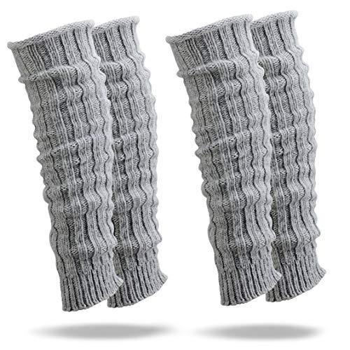 2 Paar warme Stulpen mit hohem Wollanteil in 4 verschiedenen Farben, Legwarmers mit Wolle vom Schaf und vom Alpaka, Beinwärmer flauschig weich mit schönem Grobstrick-Muster (Grau)