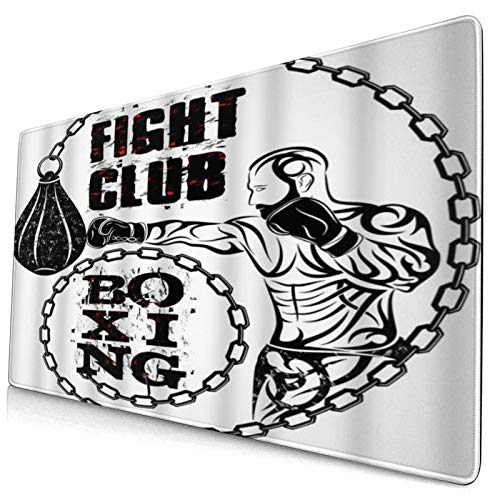 HUAYEXI Large Gaming Mouse Pad,Sport Man Hitting Punching Bag Boxing Fight Club Word,Non-Slip Rubber Mouse Pads Mousepad for Gaming Computer Office desk,75×40×0.3cm